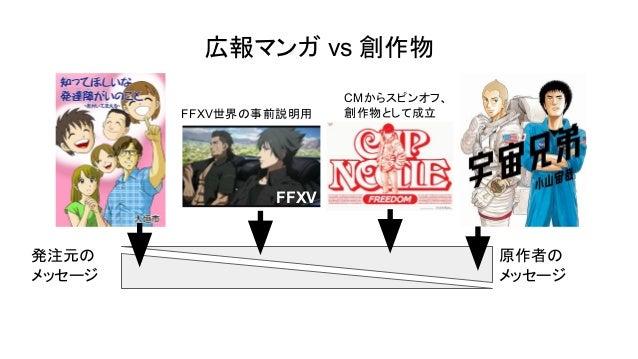広報マンガ vs 創作物 発注元の メッセージ 原作者の メッセージ FFXV FFXV世界の事前説明用 CMからスピンオフ、 創作物として成立