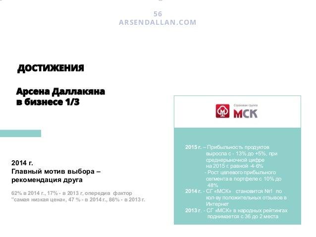 ДОСТИЖЕНИЯ Арсена Даллакяна в бизнесе 2/3 58 ARSENDALLAN.COM 2011 г. – АльфаСтрахование становится №1 по «первой рекоменда...