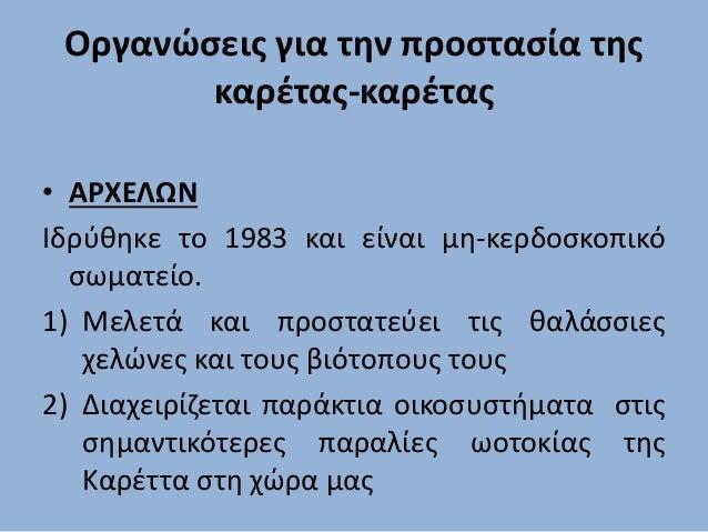Οργανώσεις για την προστασία της καρέτας-καρέτας • ΑΡΧΕΛΩΝ Iδρύθηκε το 1983 και είναι μη-κερδοσκοπικό σωματείο. 1) Μελετά ...