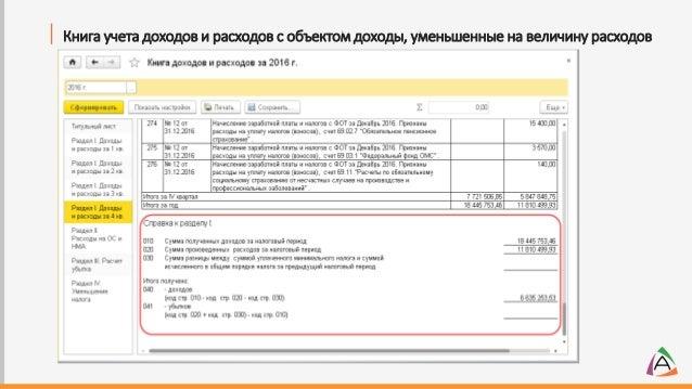 Книга учета доходов и расходов с объектом доходы, уменьшенные на величину расходов