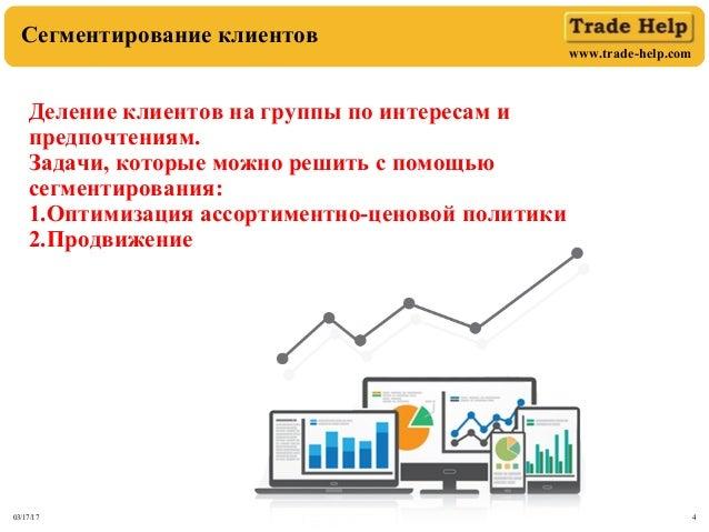 www.trade-help.com 03/17/17 4 Сегментирование клиентов Деление клиентов на группы по интересам и предпочтениям. Задачи, ко...