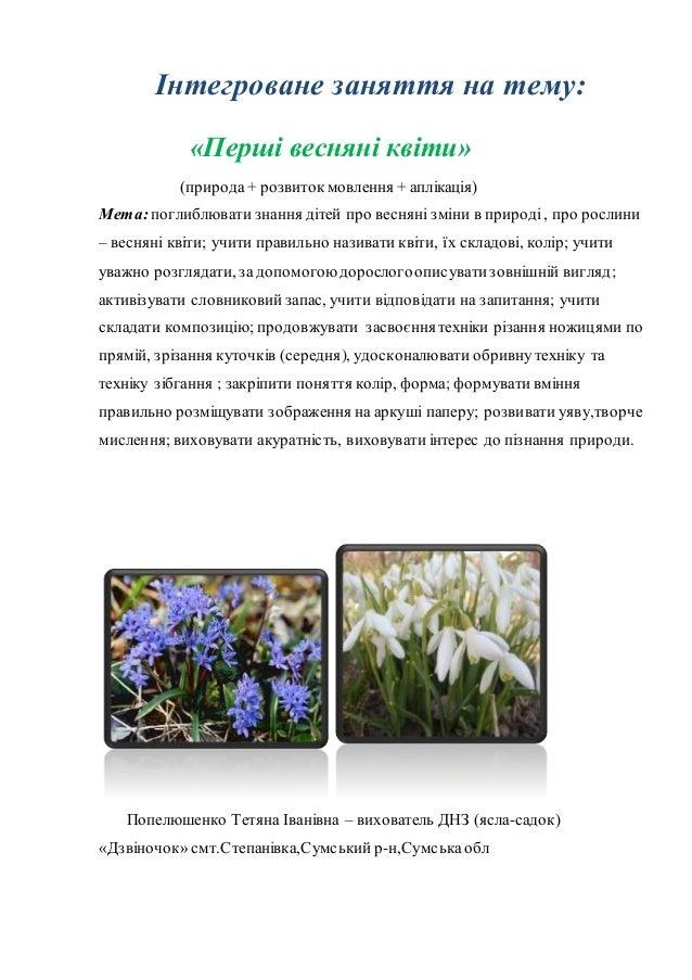 Інтегроване заняття на тему: «Перші весняні квіти» (природа+ розвитокмовлення + аплікація) Мета:поглиблювати знання дітей ...