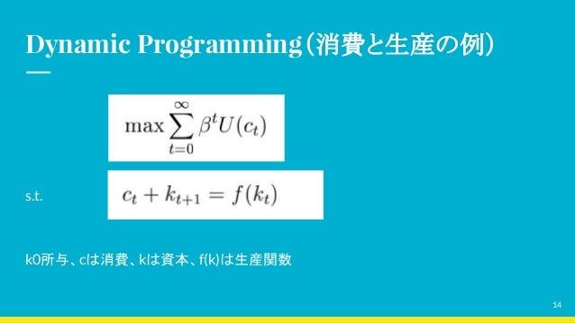 Dynamic Programming(消費と生産の例) s.t. k0所与、cは消費、kは資本、f(k)は生産関数 14