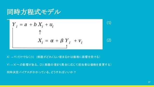 同時方程式モデル (1) (2) Xi → Yi だけでなく(1)  (部屋がどれくらい埋まるかは価格に影響を受ける) Yi → Xi への影響がある。(2)(部屋の埋まり具合に応じて担当者は価格を変更する) 同時決定バイアスがかかっている。ど...