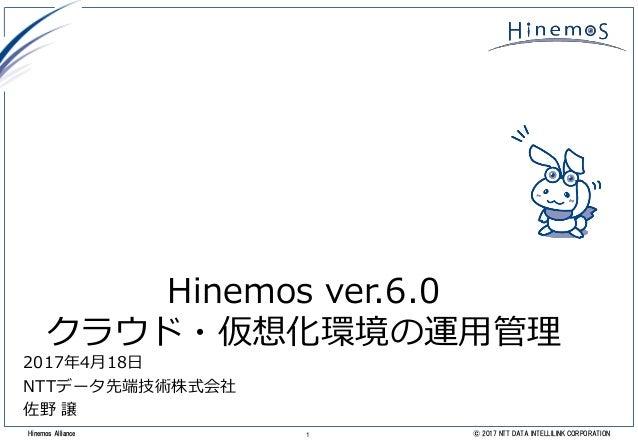 1 © 2017 NTT DATA INTELLILINK CORPORATIONHinemos Alliance Hinemos ver.6.0 クラウド・仮想化環境の運用管理 2017年4月18日 NTTデータ先端技術株式会社 佐野 譲