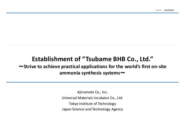 "DATE Establishmentof""Tsubame BHB Co.,Ltd."" ~Strivetoachievepracticalapplicationsfortheworld'sfirston‐site amm..."