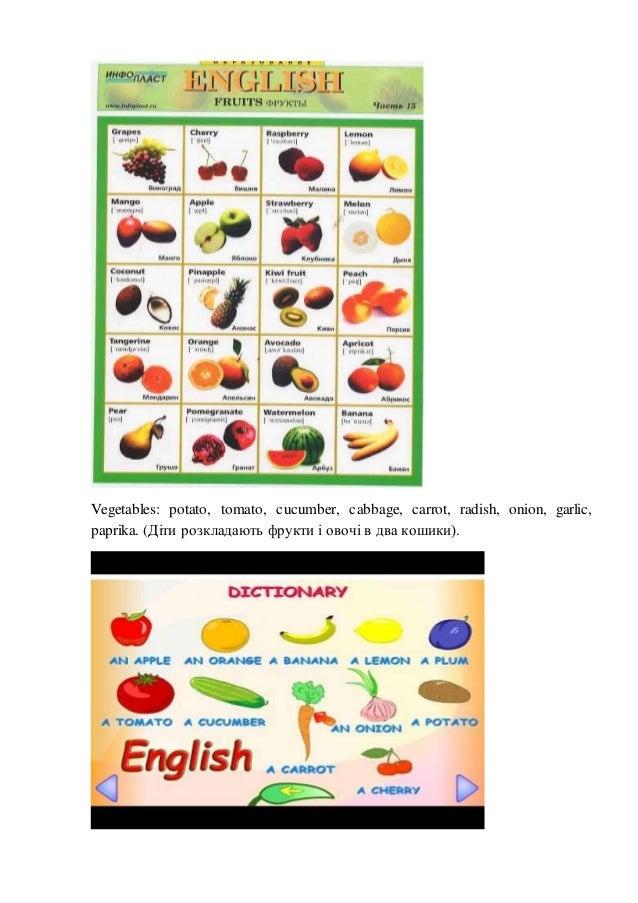 Vegetables: potato, tomato, cucumber, cabbage, carrot, radish, onion, garlic, paprika. (Діти розкладають фрукти і овочі в ...