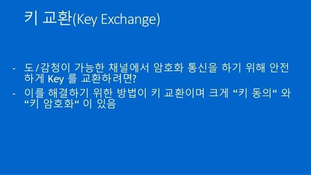 """키 교환(Key Exchange) - 도/감청이 가능한 채널에서 암호화 통신을 하기 위해 안전 하게 Key 를 교환하려면? - 이를 해결하기 위한 방법이 키 교환이며 크게 """"키 동의"""" 와 """"키 암호화"""" 이 있음"""
