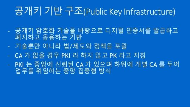 공개키 기반 구조(Public Key Infrastructure) - 공개키 암호화 기술을 바탕으로 디지털 인증서를 발급하고 폐지하고 응용하는 기반 - 기술뿐만 아니라 법/제도와 정책을 포괄 - CA 가 없을 경우 PK...