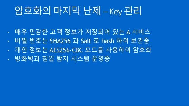 암호화의 마지막 난제 – Key 관리 - 매우 민감한 고객 정보가 저장되어 있는 A 서비스 - 비밀 번호는 SHA256 과 Salt 로 hash 하여 보관중 - 개인 정보는 AES256-CBC 모드를 사용하여 암호화 -...
