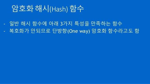 암호화 해시(Hash) 함수 - 일반 해시 함수에 아래 3가지 특성을 만족하는 함수 - 복호화가 안되므로 단방향(One way) 암호화 함수라고도 함
