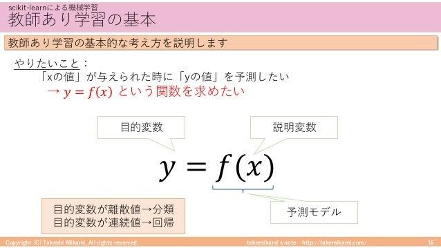 takemikami's note ‒ http://takemikami.com/ 教師あり学習の基本 Copyright (C) Takeshi Mikami. All rights reserved. 16 scikit-learnによる...