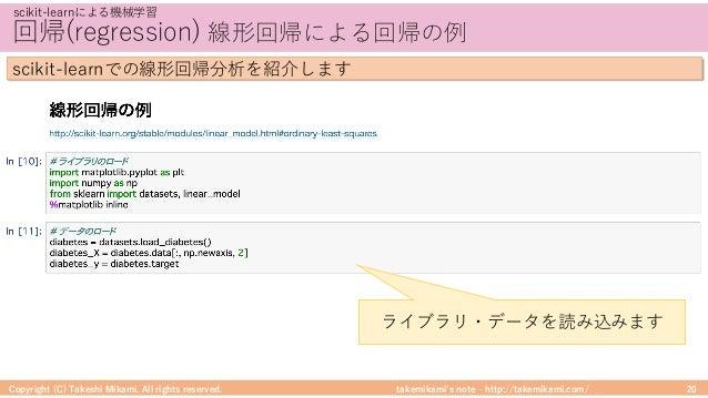 takemikami's note ‒ http://takemikami.com/ 回帰(regression) 線形回帰による回帰の例 Copyright (C) Takeshi Mikami. All rights reserved. 2...