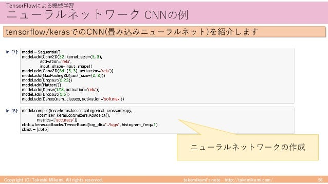 takemikami's note ‒ http://takemikami.com/ ニューラルネットワーク CNNの例 Copyright (C) Takeshi Mikami. All rights reserved. 56 TensorF...