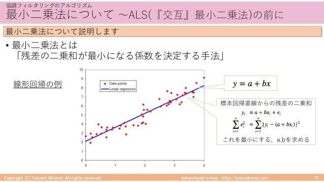 takemikami's note ‒ http://takemikami.com/ 最⼩⼆乗法について 〜ALS(『交互』最⼩⼆乗法)の前に • 最⼩⼆乗法とは 「残差の⼆乗和が最⼩になる係数を決定する⼿法」 Copyright (C) Ta...