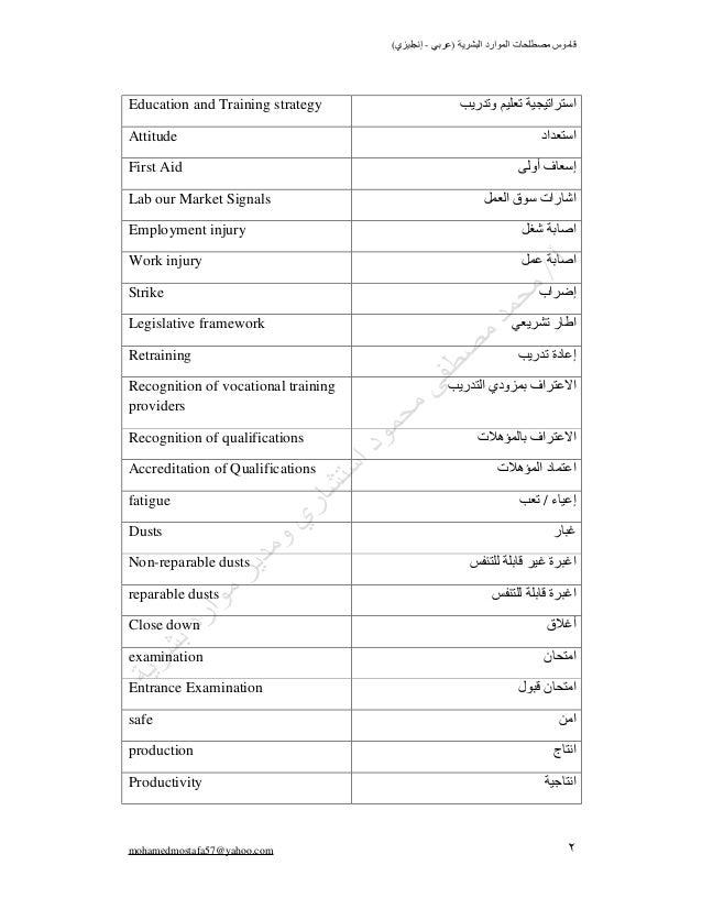 مصطلحات الموارد البشرية  Slide 2