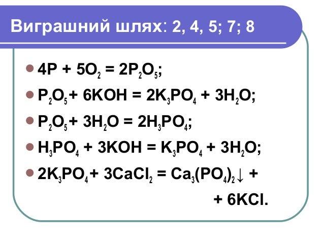 Виграшний шлях: 2, 4, 5; 7; 8 4P + 5O2 = 2P2O5; P2O5 + 6KOH = 2K3PO4 + 3H2O; P2O5 + 3H2O = 2H3PO4; H3PO4 + 3KOH = K3PO...