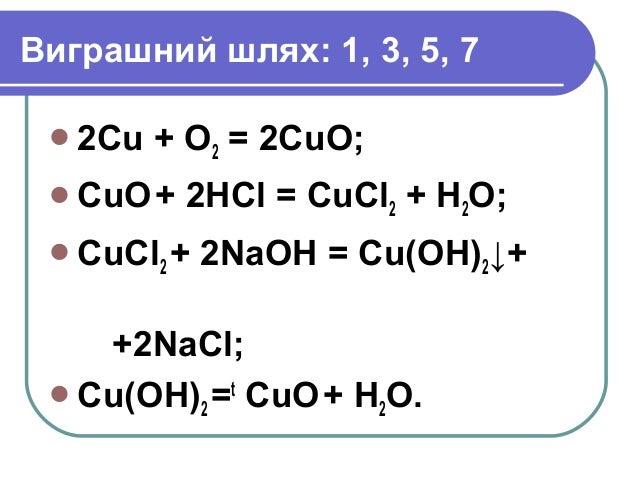 Виграшний шлях: 1, 3, 5, 7 2Сu + O2 = 2CuO; CuO+ 2HCl = CuCl2 + H2O; CuCl2 + 2NaOH = Cu(OH)2↓+ +2NaCl; Cu(OH)2 =t CuO+...