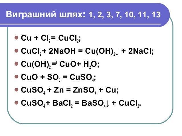 Виграшний шлях: 1, 2, 3, 7, 10, 11, 13 Сu + Cl2 = CuCl2; CuCl2 + 2NaOH = Cu(OH)2↓ + 2NaCl; Cu(OH)2 =t CuO+ H2O; CuO + ...