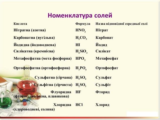 Назви солей • Fe(NO3)3 – ферум(ІІІ) нітрат; • Na2SO4 – натрій сульфат; • KHCO3 – калій гідрогенкарбонат; • NaH2PO4 – натрі...