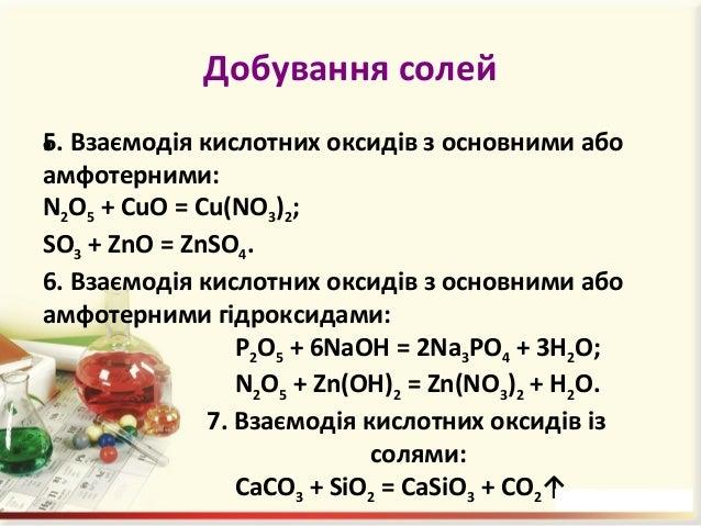 Добування солей 8. Взаємодія сильних основ з амфотерними гідроксидами: Ba(OH)2 + Pb(OH)4 = Ba[Pb(OH)6]. 9. Взаємодія основ...