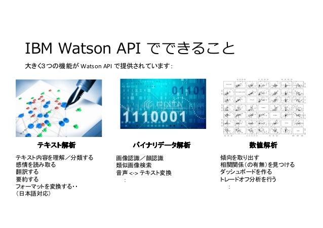 IBM Watson API でできること 大きく3つの機能が Watson API で提供されています: テキスト解析テキスト解析テキスト解析テキスト解析 数値解析数値解析数値解析数値解析バイナリデータ解析バイナリデータ解析バイナリデータ解析...