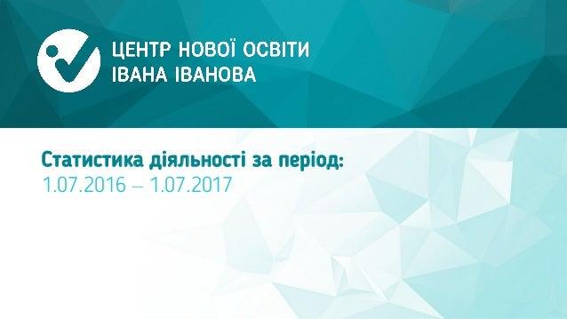 Статистика діяльності за період: 1.07.2016 – 1.07.2017