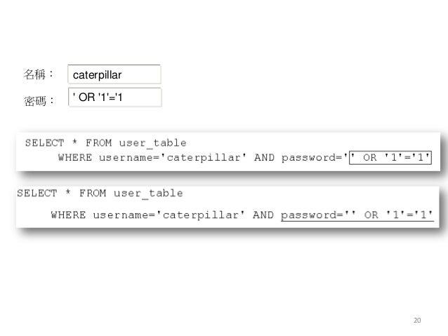 20 名稱: 密碼: caterpillar ' OR '1'='1