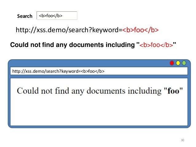 "30 <b>foo</b>Search http://xss.demo/search?keyword=<b>foo</b> Could not find any documents including ""<b>foo</b>"" http://x..."