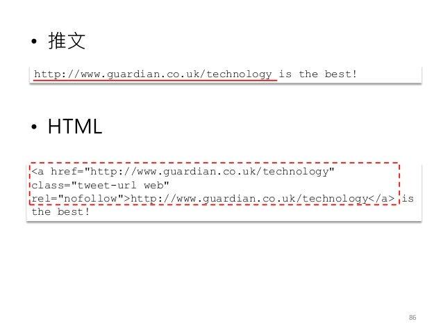 """• 推文 • HTML 86 http://www.guardian.co.uk/technology is the best! <a href=""""http://www.guardian.co.uk/technology"""" class=""""twe..."""