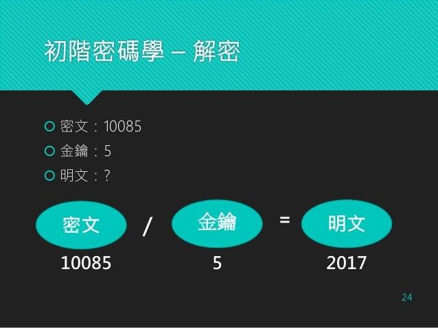 初階密碼學 – 解密 24  密文:10085  金鑰:5  明文:? 密文 金鑰 明文/ = 10085 5 2017