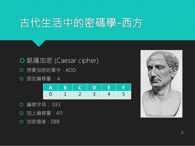 古代生活中的密碼學-西方 8  凱薩加密 (Caesar cipher)  想要加密的單字:ADD  固定偏移量 :4  編號字母: 033  加上偏移量:411  加密過後:EBB A B C D E F 0 1 2 3 4 5