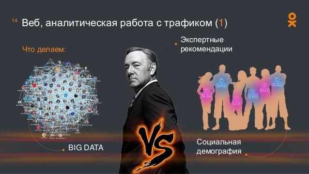 Веб, аналитическая работа с трафиком (1) Что делаем: BIG DATA Социальная демография Экспертные рекомендации 14