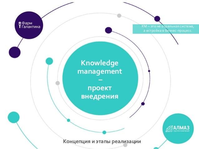 КМ – это не отдельная система, а встройка в бизнес-процесс. Knowledge management – проект внедрения КМ – это не отдельная ...
