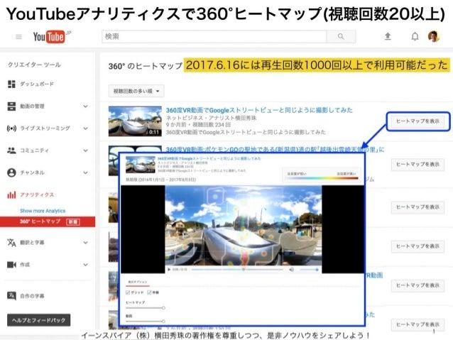 YouTubeアナリティクスで360 ヒートマップ(視聴回数20以上) イーンスパイア(株)横田秀珠の著作権を尊重しつつ、是非ノウハウをシェアしよう! 1 2017.6.16には再生回数1000回以上で利用可能だった