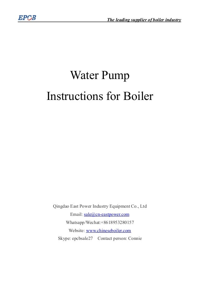 Water Pump Instructions for Boiler