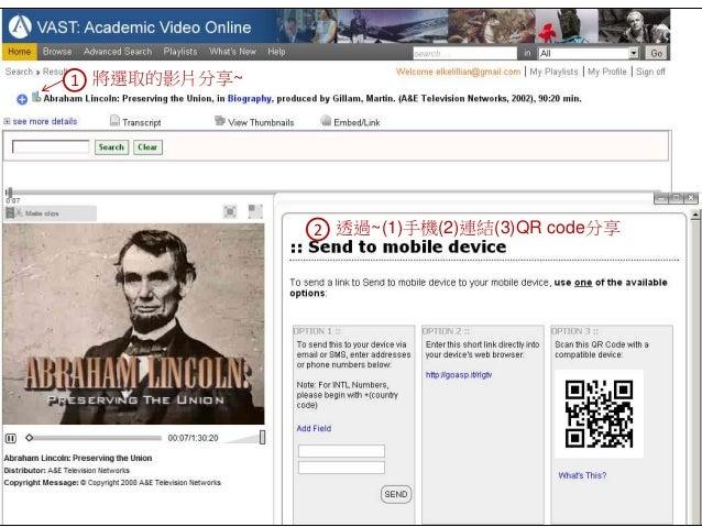 1 將選取的影片分享~ 2 透過~(1)手機(2)連結(3)QR code分享
