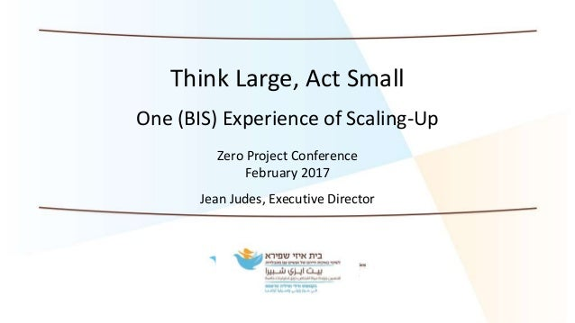 Think Large, Act Small One (BIS) Experience of Scaling-Up Zero Project Conference February 2017 Jean Judes, Executive Dire...