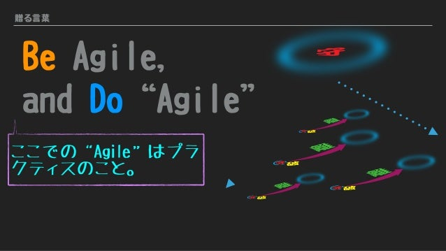 """贈る言葉 Be Agile, and Do""""Agile"""" 守 ここでの""""Agile""""はプラ クティスのこと。 守破 離 守破 離 守破 離 守破 離"""