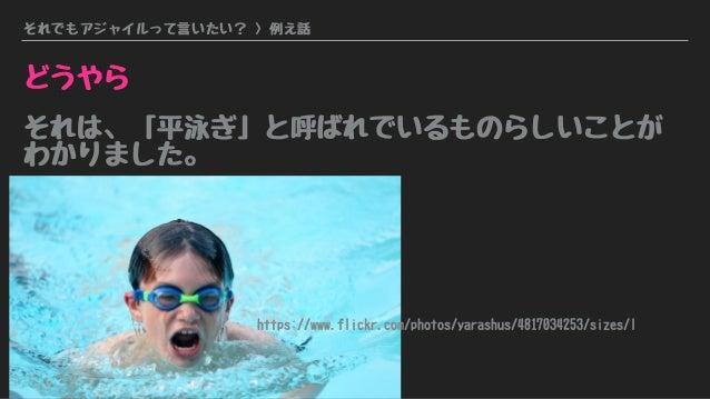 それでもアジャイルって言いたい? > 例え話 どうやら それは、「平泳ぎ」と呼ばれでいるものらしいことが わかりました。 https://www.flickr.com/photos/yarashus/4817034253/sizes/l