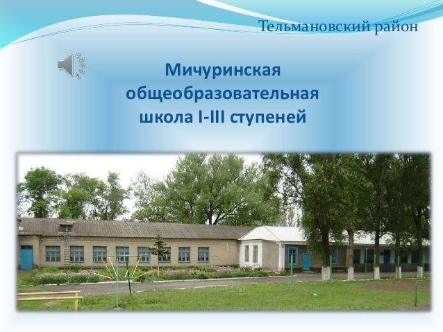 Мичуринская общеобразовательная школа I-III ступеней Тельмановский район