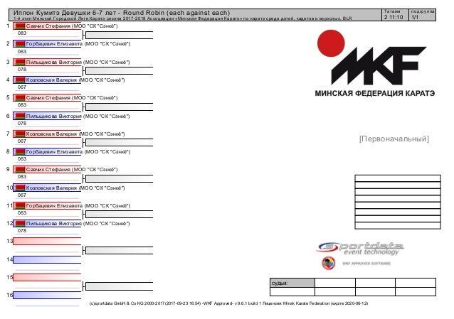 1 2 3 4 5 6 7 8 9 10 11 12 13 14 15 16 судьи: (c)sportdata GmbH & Co KG 2000-2017(2017-09-23 16:54) -WKF Approved- v 9.6.1...