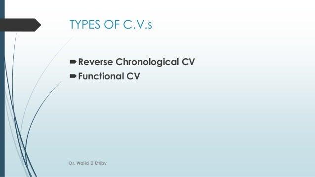TYPES OF C.V.s Reverse Chronological CV Functional CV Dr. Walid El Etriby