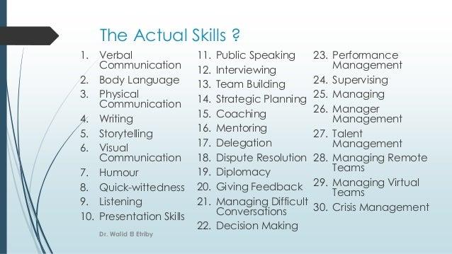 The Actual Skills ? 1. Verbal Communication 2. Body Language 3. Physical Communication 4. Writing 5. Storytelling 6. Visua...