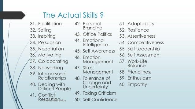 The Actual Skills ? 31. Facilitation 32. Selling 33. Inspiring 34. Persuasion 35. Negotiation 36. Motivating 37. Collabora...