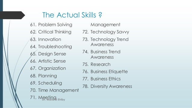The Actual Skills ? 61. Problem Solving 62. Critical Thinking 63. Innovation 64. Troubleshooting 65. Design Sense 66. Arti...