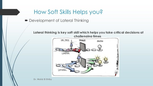 How Soft Skills Helps you?  Development of Lateral Thinking Lateral thinking is key soft skill which helps you take criti...