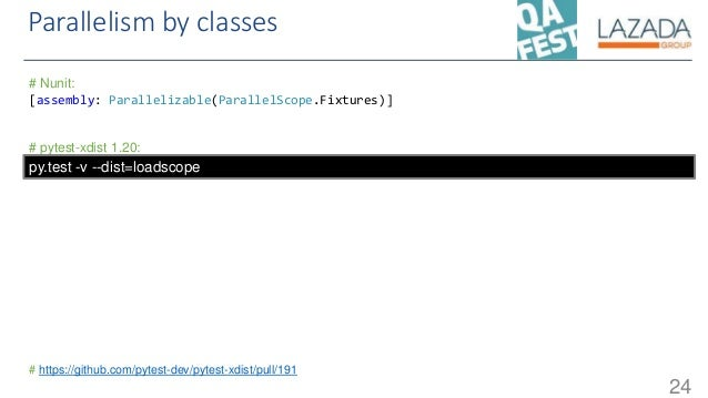 Parallelism by classes 24 # Nunit: [assembly: Parallelizable(ParallelScope.Fixtures)] # pytest-xdist 1.20: # https://githu...